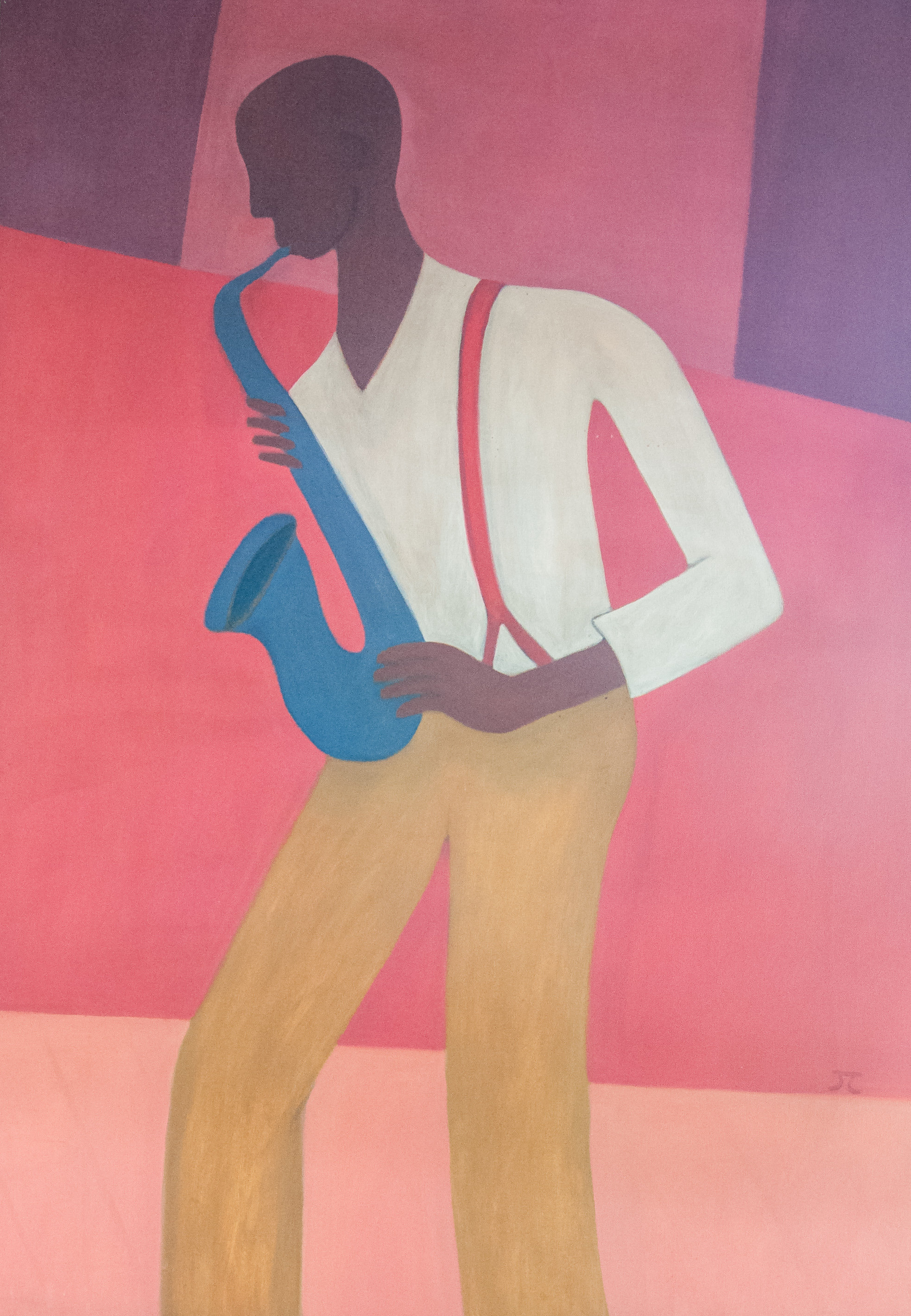 The Sax Player Painting by Jerry Cantwell